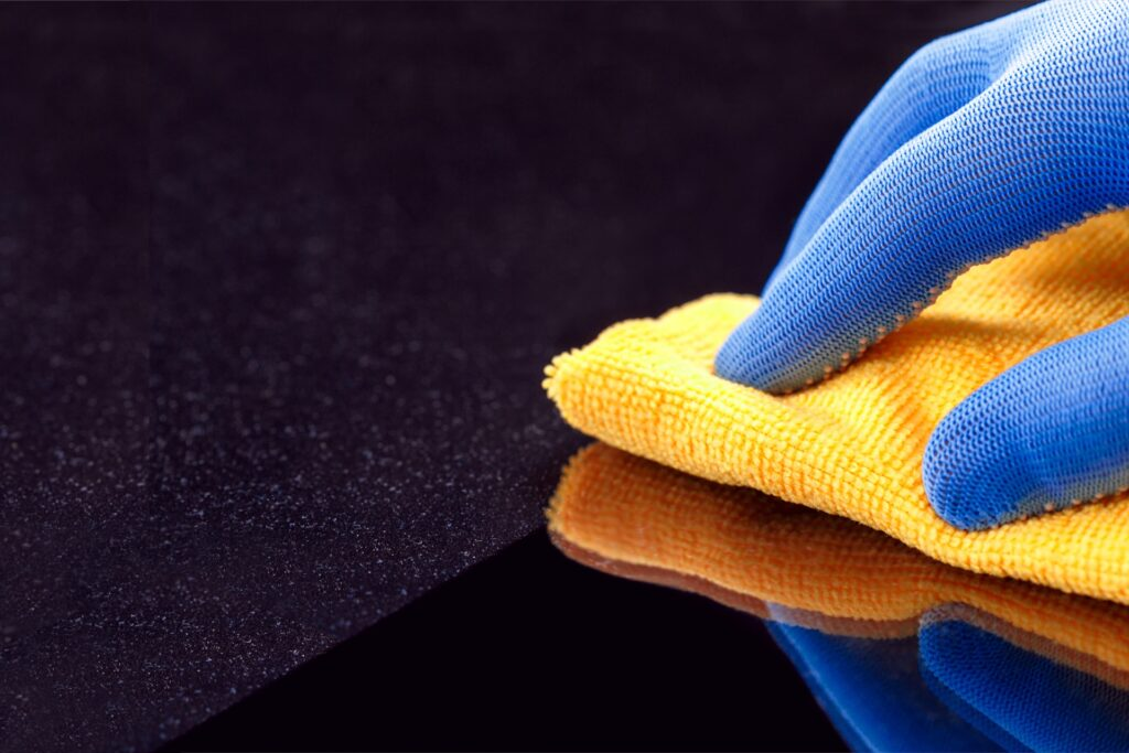 Commercial cleaning doing dust cleaning
