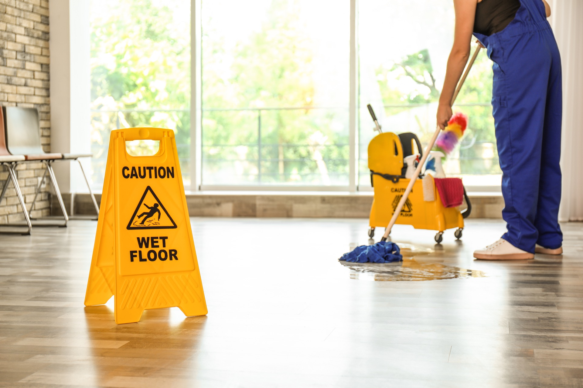 Commercial cleaning being performed at a workplace